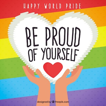 Stripes and heart of pride day colorful background