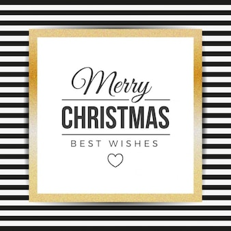 Stripes christmas background with golden frame
