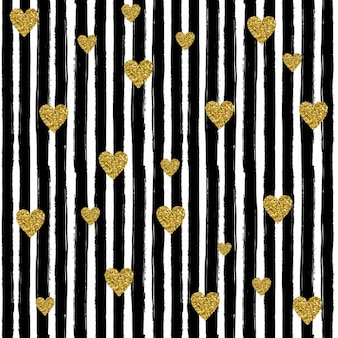 Strokes and hearts pattern