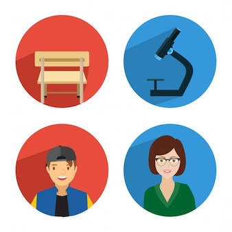Student learning icon set