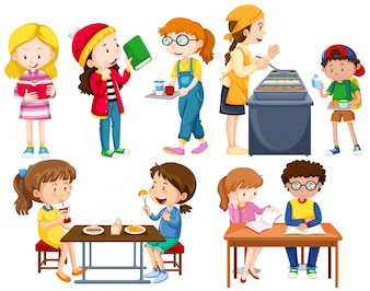 Students doing different activities illustration