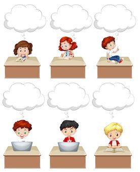 Students work on table illustration