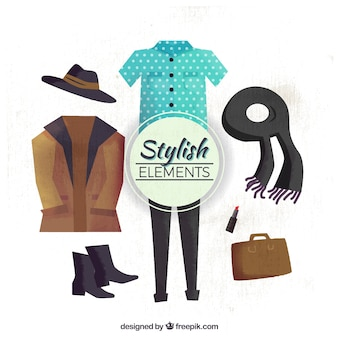 Stylish autumn watercolor elements