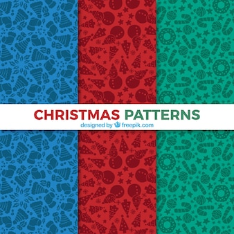 Stylish christmas patterns in three colors