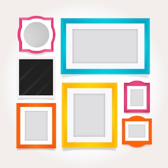 Stylish colored frames in flat design
