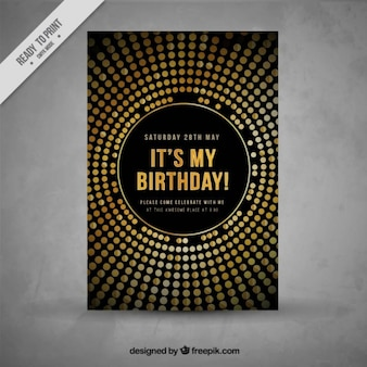 Stylish golden birthday invitation