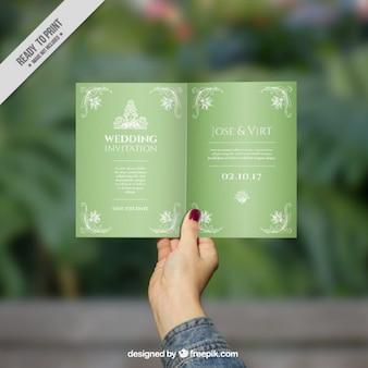 Stylish green wedding invitation