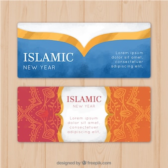 Stylish islamic new year banners