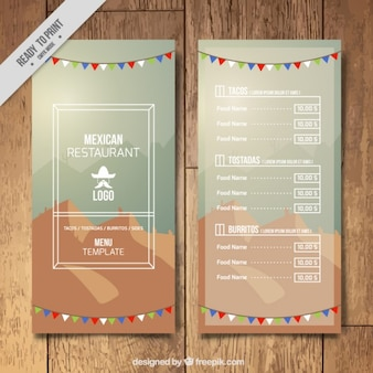 Stylish mexican menu template