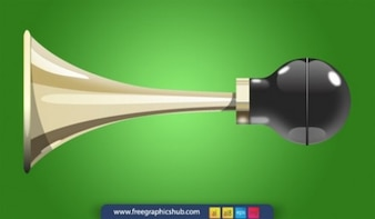 Stylish old glossy brass vector car horn