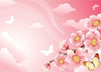 stylish pink blossoms illustrator vector