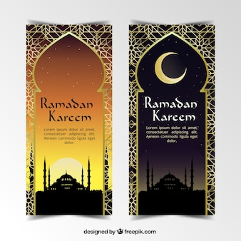 Stylish ramadan banners