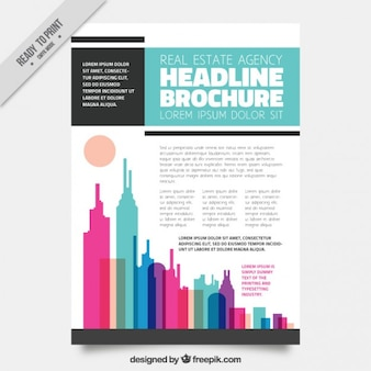 Stylish real estate flyer with colored skyscrapers