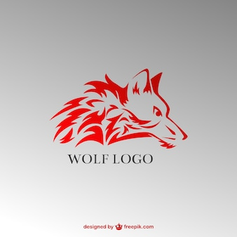 Stylish red wolf logo