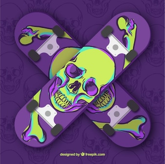 Stylish skateboard with hand drawn skull