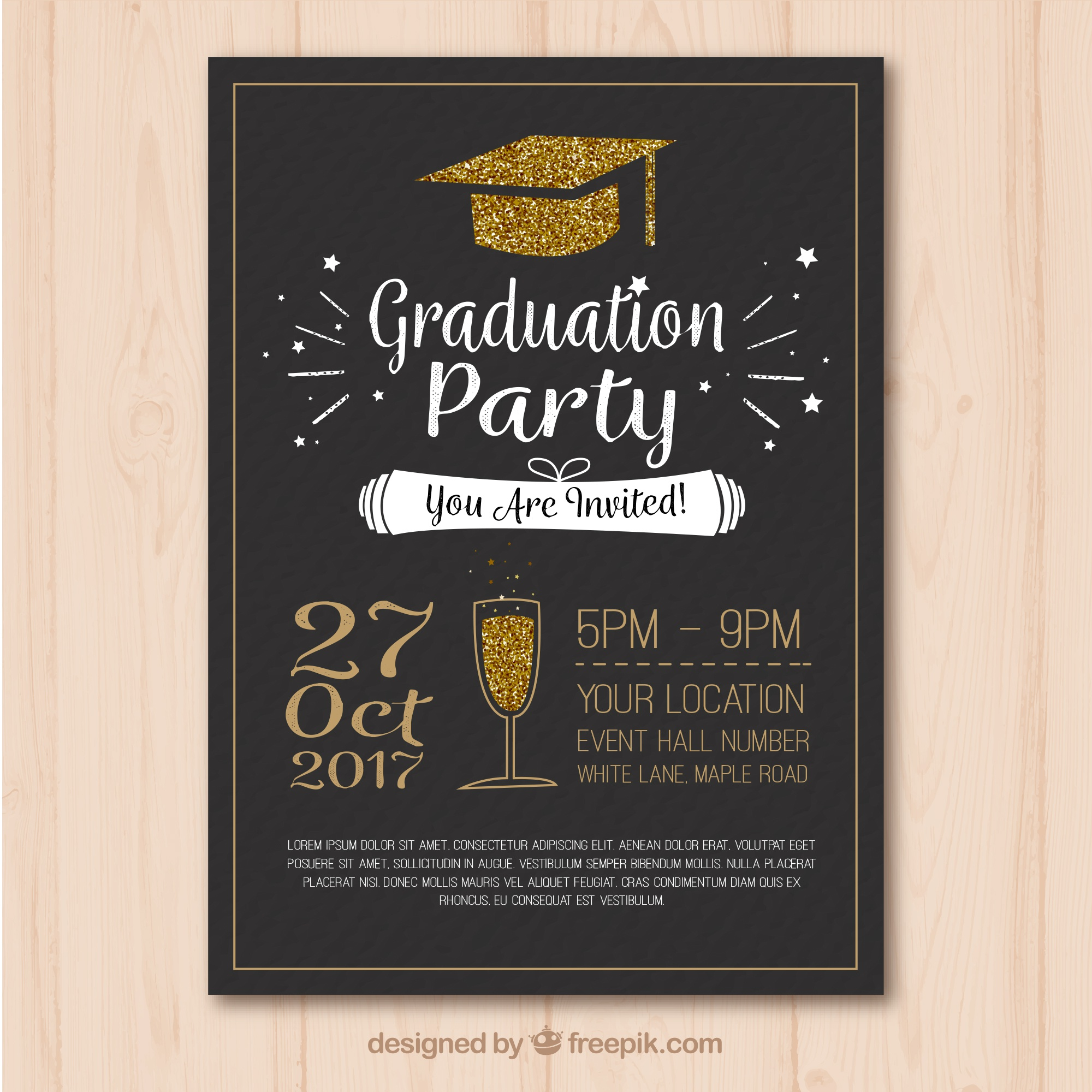 Stylish template of graduation party poster with golden elements