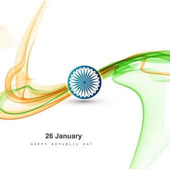 Stylish tricolor wavy Indian flag design