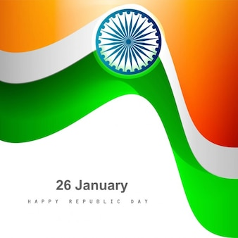 Stylish tricolor wavy Indian flag