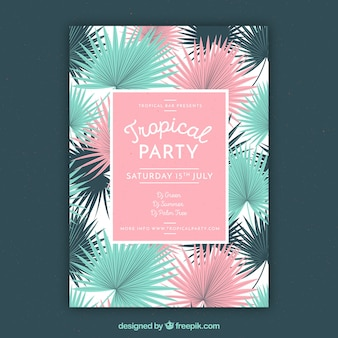 Stylish tropical party flyer with colored palm leaves