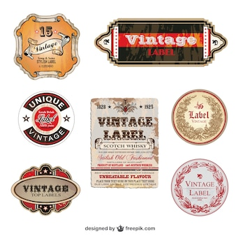 Stylish vintage labels