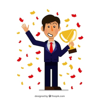 Successful businessman with trophy and confetti