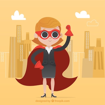 Successful businesswoman with cape and mask