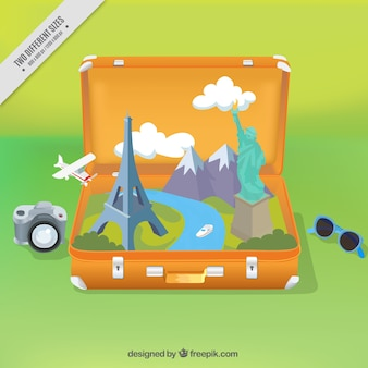 Suitcase background with monuments and travel items