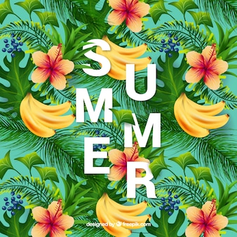Summer background of bananas and flowers