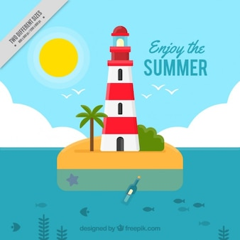 Summer background with a cute lighthouse