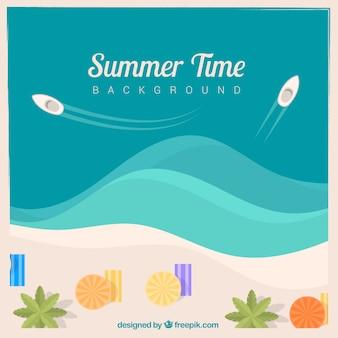 ボートとタオルの夏の背景