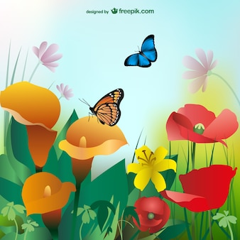 Summer background with colorful flowers and butterflies