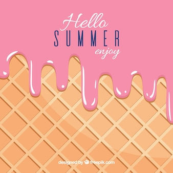 Summer background with delicious melted strawberry ice cream