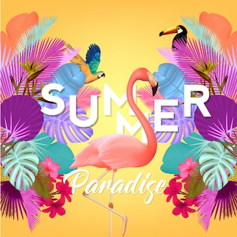 Summer background with flamingo and palm tree leaves