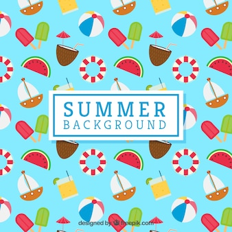 Summer background with flat decorative items