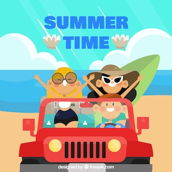 Summer background with friends in car