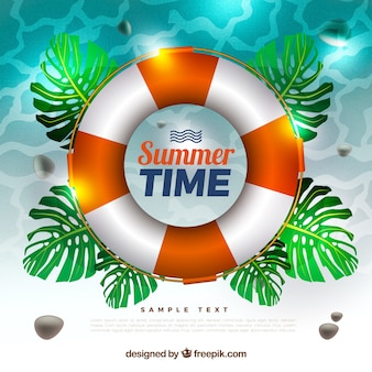 Summer background with life preserver and leaves