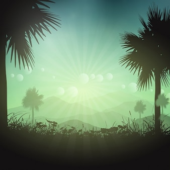 Summer background with palm trees landscape