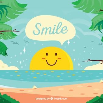笑顔の太陽と夏の背景