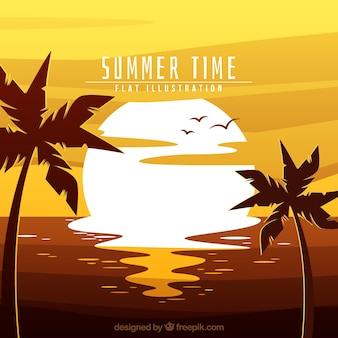 Summer background with sun and palm trees