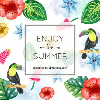Summer background with tropical flowers and watercolor flowers