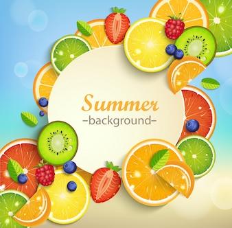熱帯の果物と夏の背景。