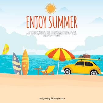Summer background with yellow car on the beach