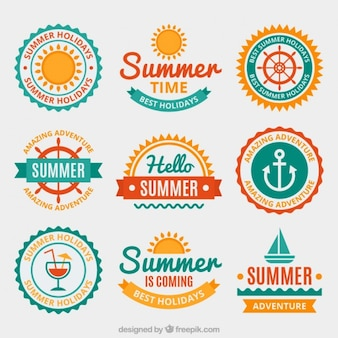 Summer badges in flat design