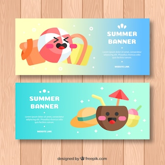 Summer banners with cute characters