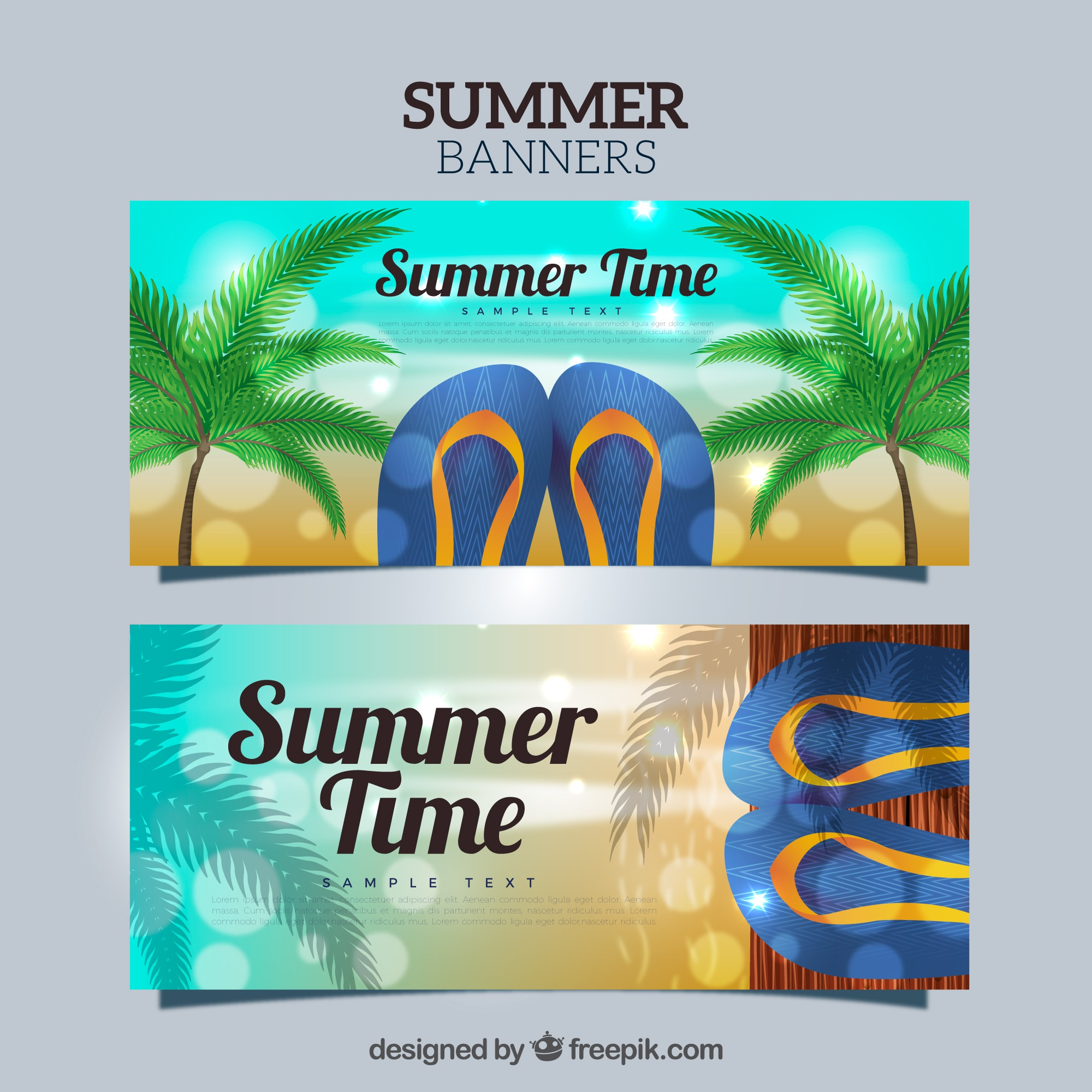 Summer banners with flip flops and palm trees