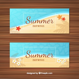 Summer banners with sea and sand