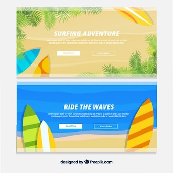 Summer banners with surfboards