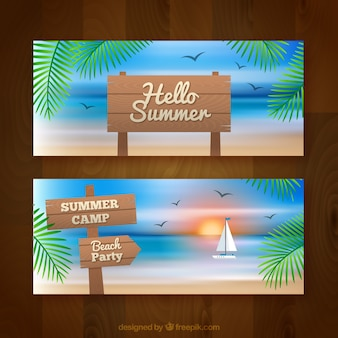 Summer banners with wooden signs