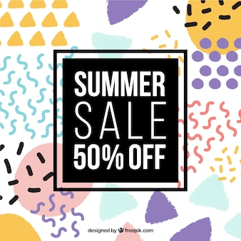 Summer big sale background in memphis style