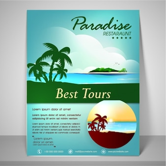 Summer brochure with idyllic island